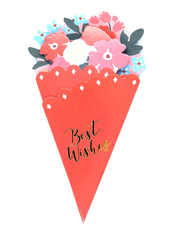 Flower Bouquet-Shaped Greeting Card - red