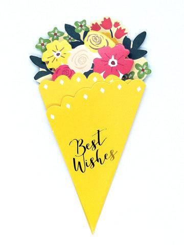Flower Bouquet-Shaped Greeting Card - yellow