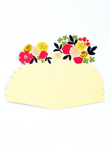 Flower Bouquet-Shaped Greeting Card - inside yellow