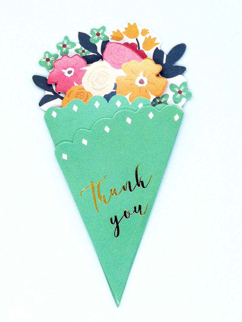 Small thank you flower bouquet  - green - front