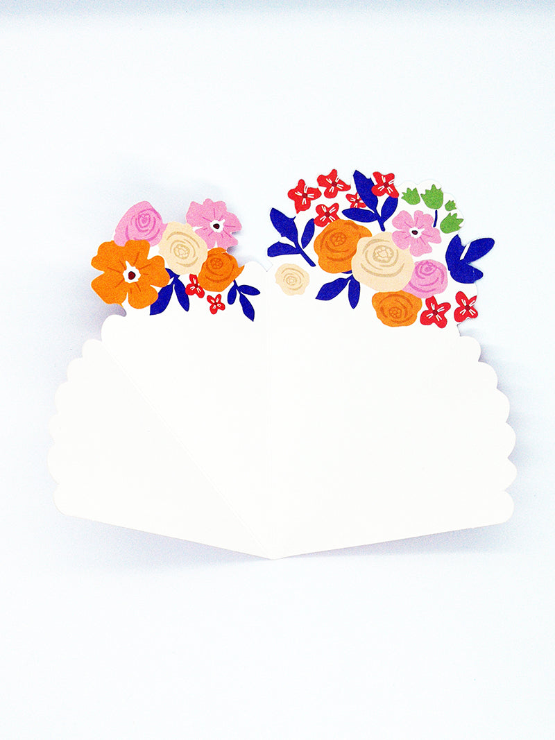 Small thank you flower bouquet  - pink card inside