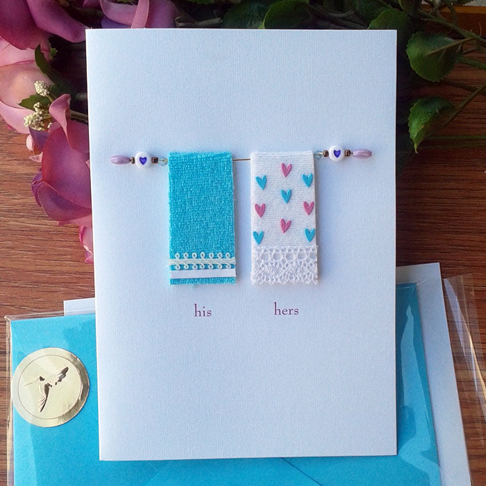 Towels - Funny Engagement Card - card and matching envelope