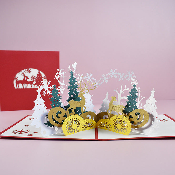 Winter forrest christmas pop up card - front view and front cover together
