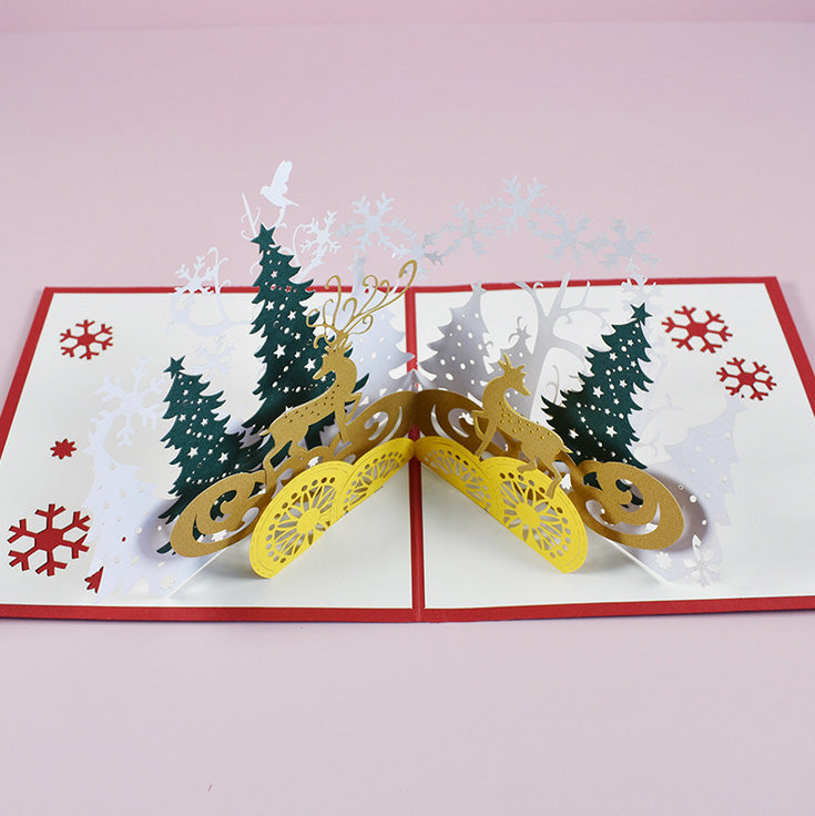 Winter forrest christmas pop up card - view from the top