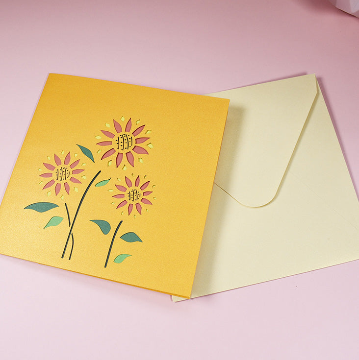 Yellow and Orange sunflowers popup greeting card and envelope - pink bg
