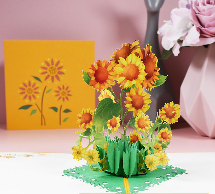 Yellow and Orange sunflowers popup greeting card and front cover - pink bg