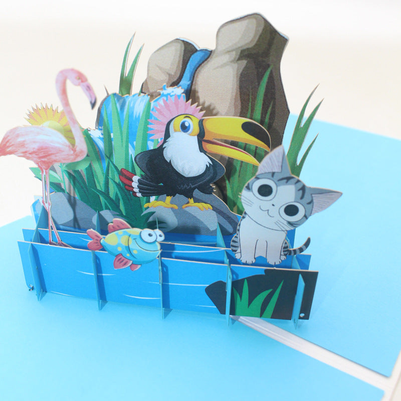 Animals on the Rocks Pop Up Card - close up