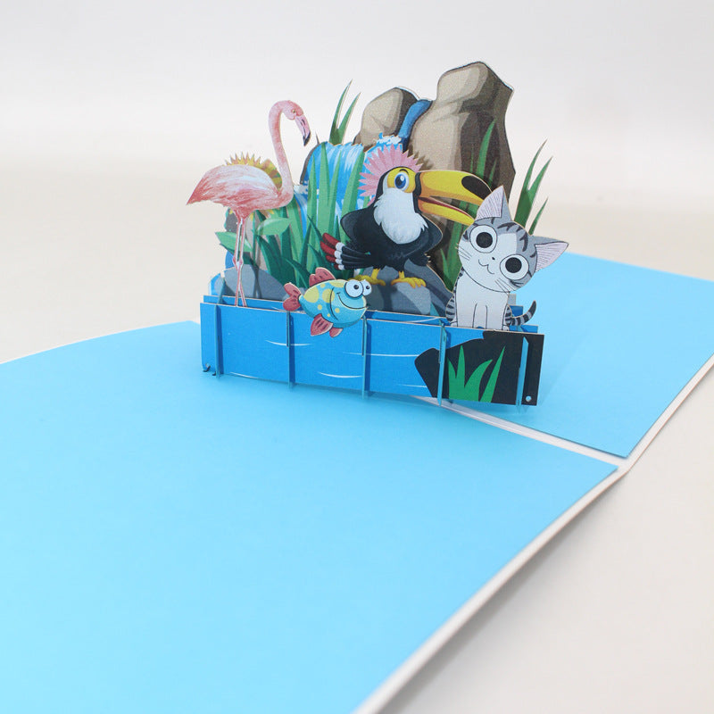 Animals on the Rocks Pop Up Card - angle view from far