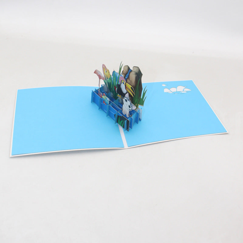Animals on the Rocks Pop Up Card - side view