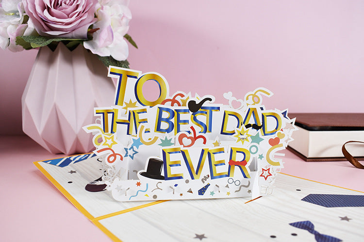 best dad pop up card - front view