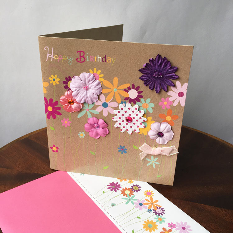 birthday card - colourful flowers - main view