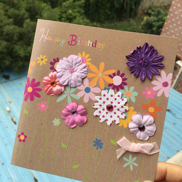 birthday card - colourful flowers - main view 2