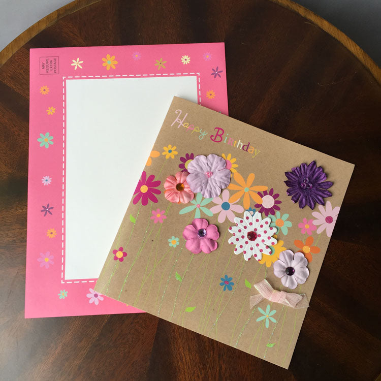 birthday card - colourful flowers - view from the top