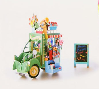 birthday truck puzzle card - green