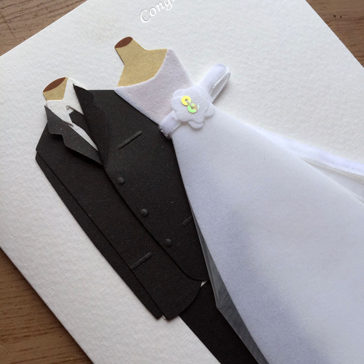 bride and groom wedding card - front card close up