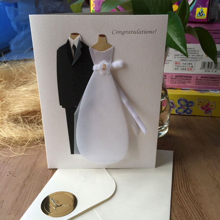 bride and groom wedding card - main view with matching envelope