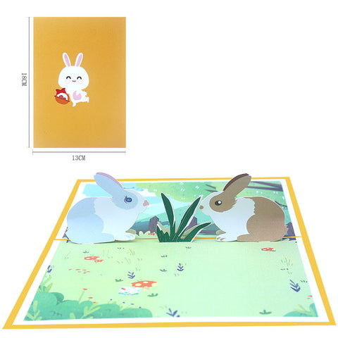 bunnies pop up card - front cover, card and size