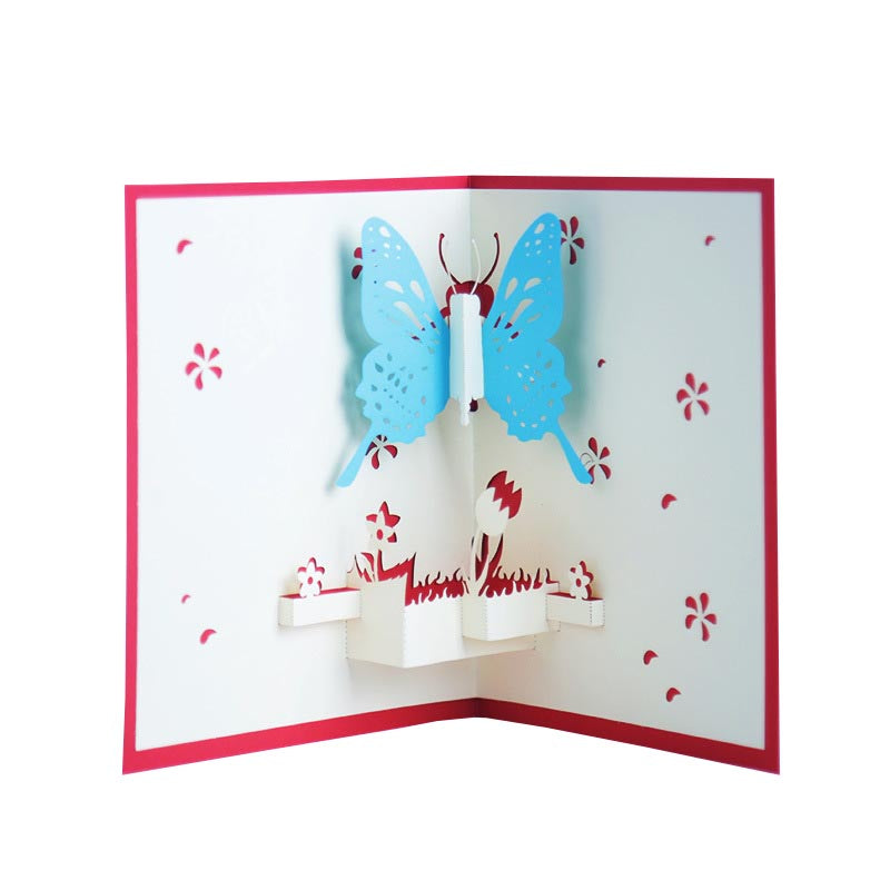 Blue or Pink Butterfly Pop Up Card - blue one