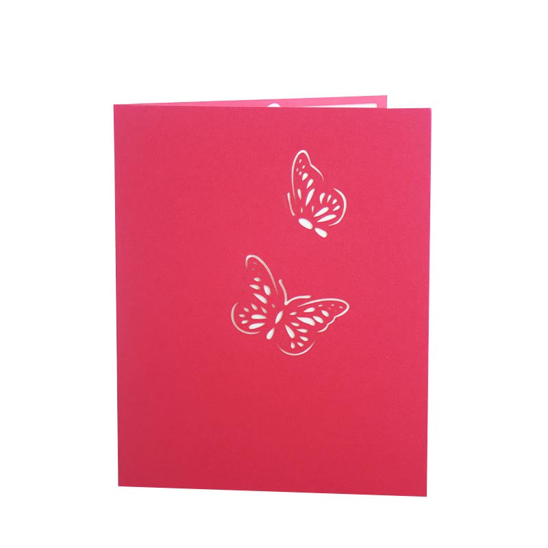 Blue or Pink Butterfly Pop Up Card - front cover