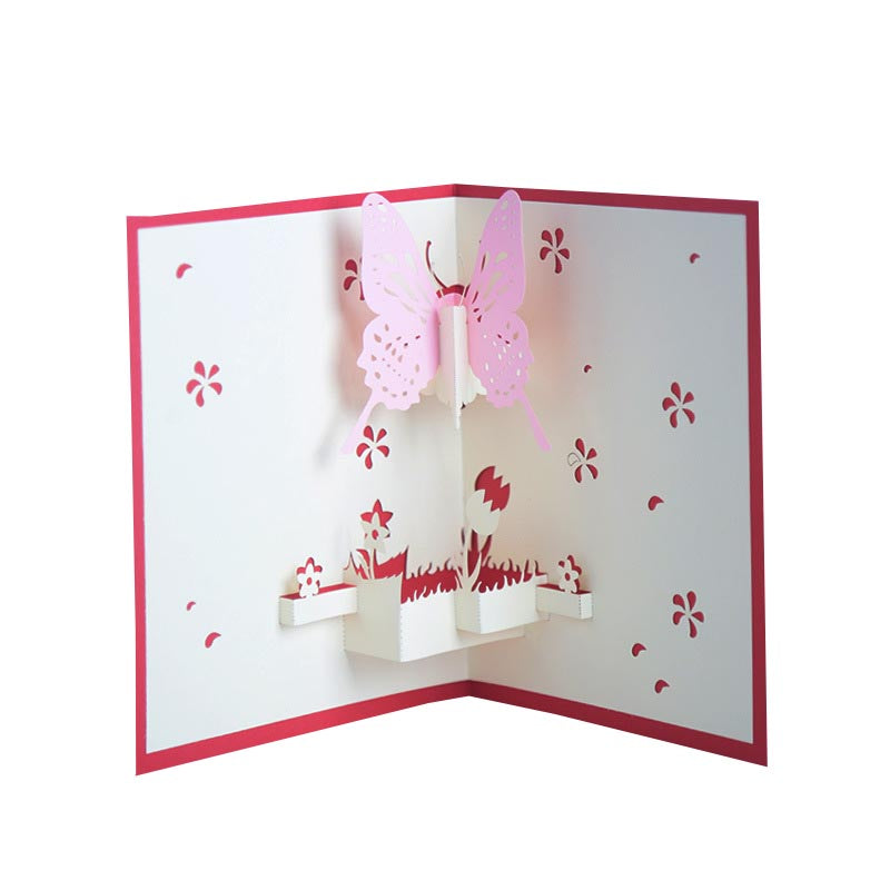Blue or Pink Butterfly Pop Up Card - pink one
