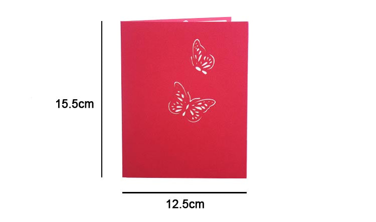 Blue or Pink Butterfly Pop Up Card - sizes