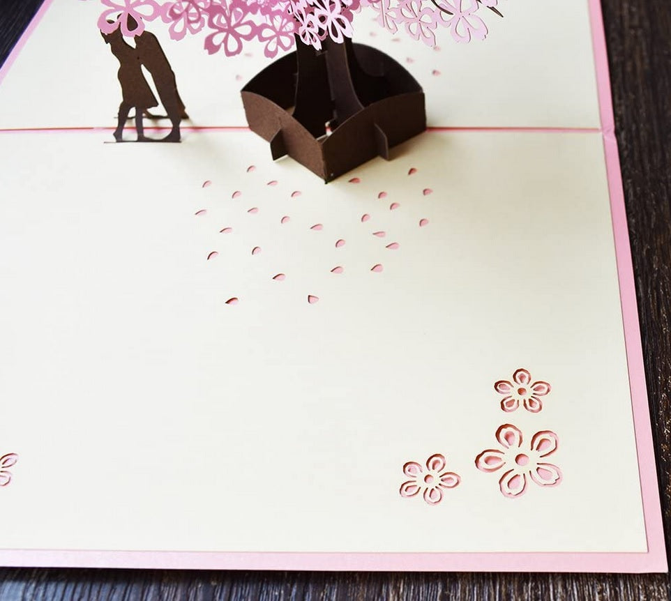 cherry blossom pop up card - zoom in on laser cut flowers