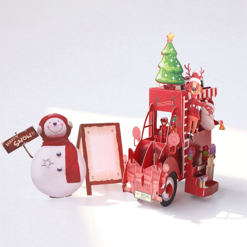 christmas truck puzzle card - main view
