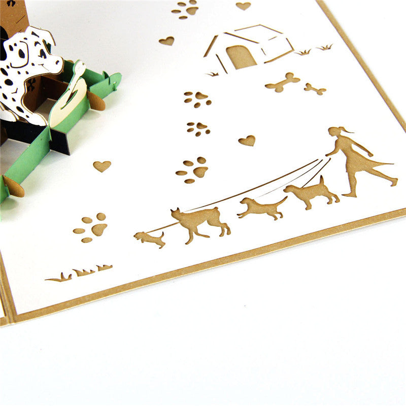 Dalmatian in Doghouse Pop Up Card - laser cut shapes