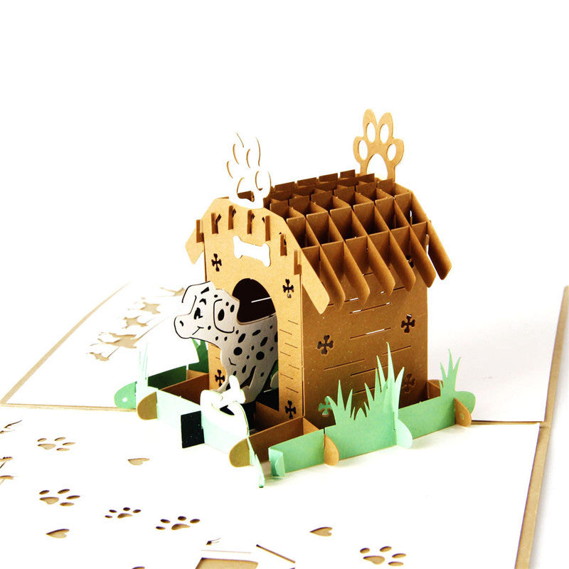 Dalmatian in Doghouse Pop Up Card