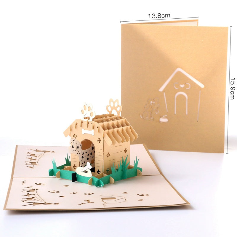 Dalmatian in Doghouse Pop Up Card opened and closed