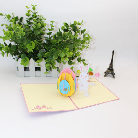 easter bunny pop up card angle view