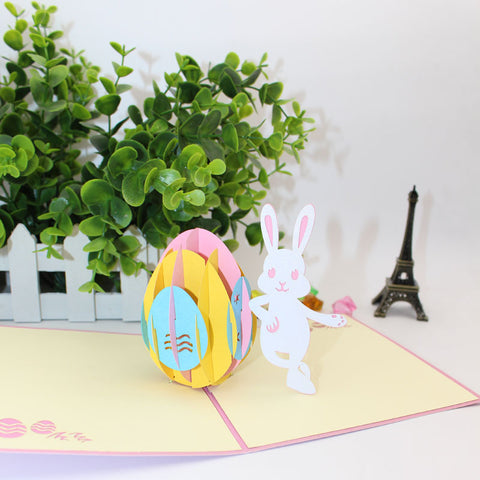 easter bunny pop up card front view