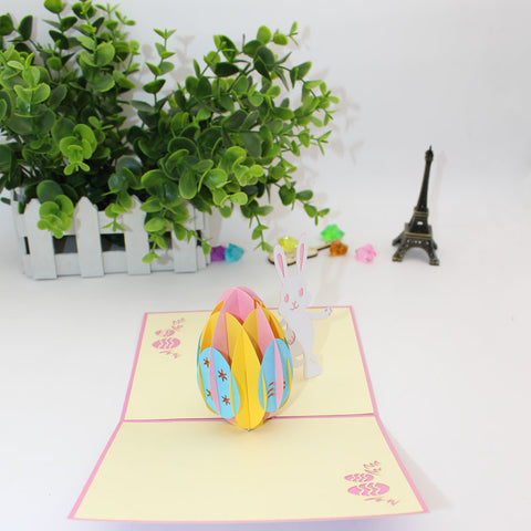 easter bunny pop up card side view