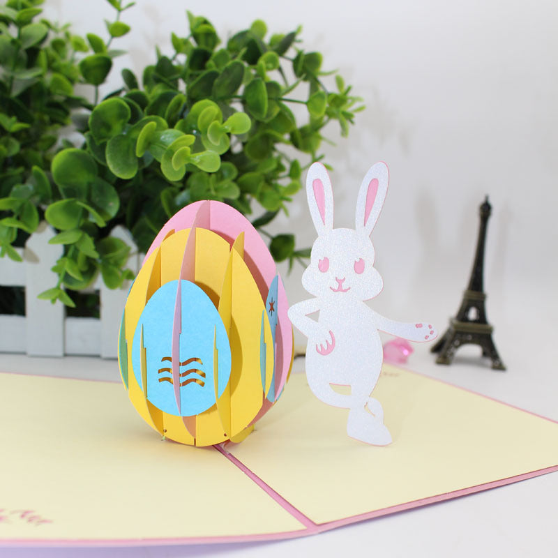 easter bunny pop up card side view close up