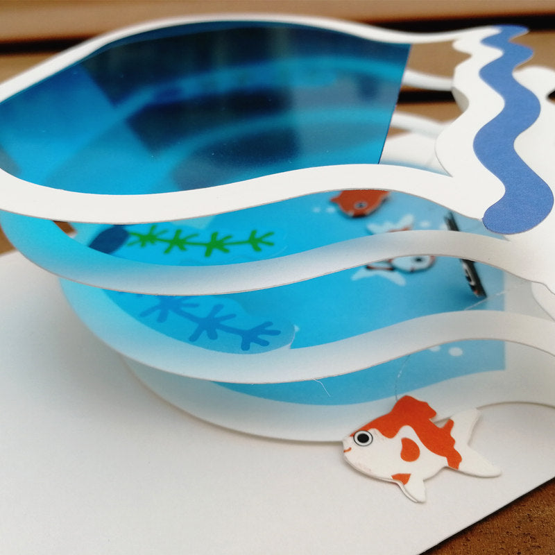 fish tank pop up card - side view