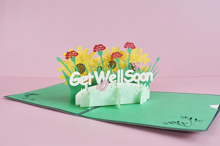 get well soon pop up card angle view