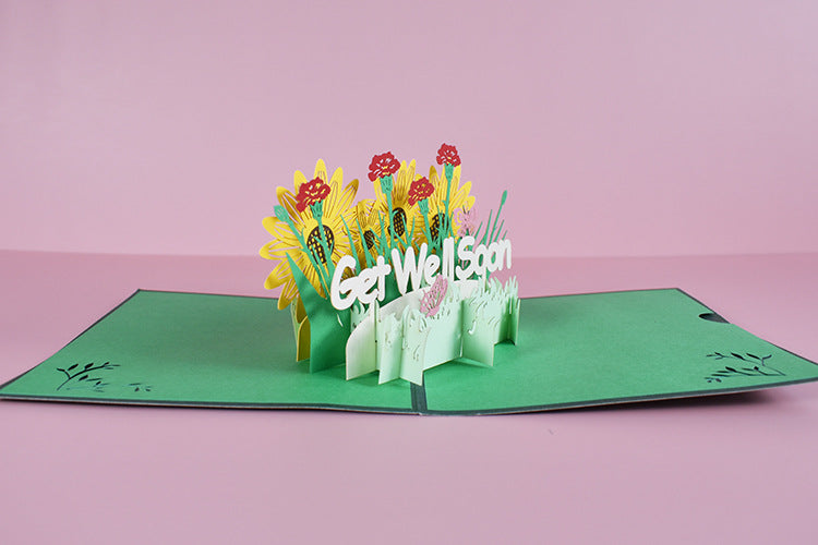 get well soon pop up card another angle view