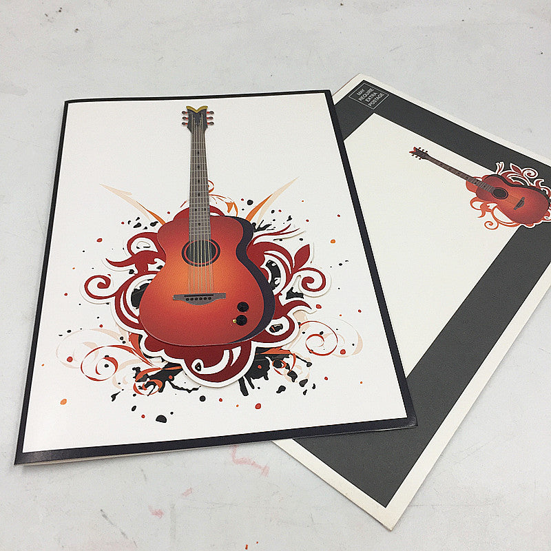 guitar birthday card - card and envelope