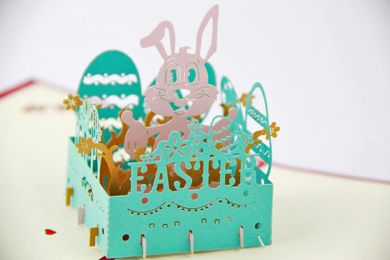 Easter pop up card with bunny - close up