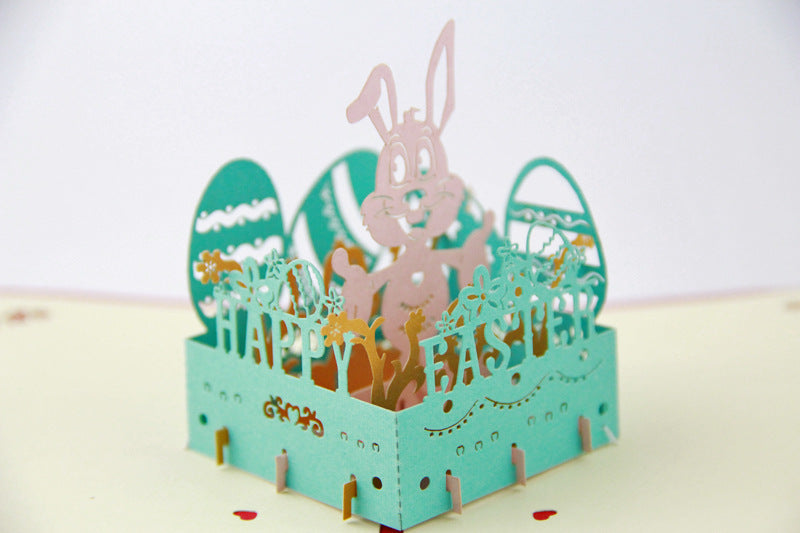 Easter pop up card with bunny - close up from other side