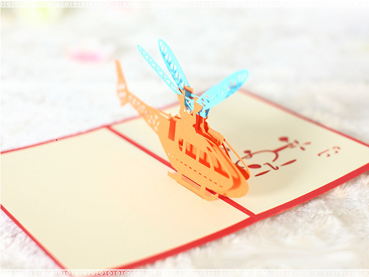helicopter pop up card angle view