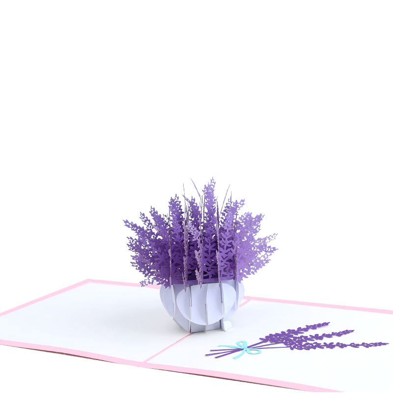 lavender flower pop up card - angle view