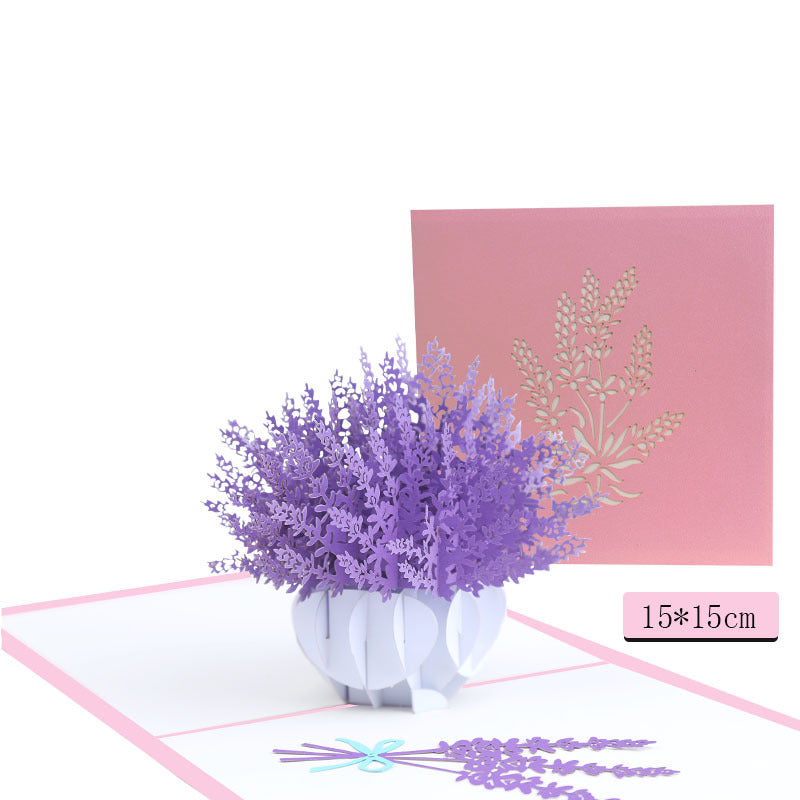 lavender flower pop up card - front cover, size and card