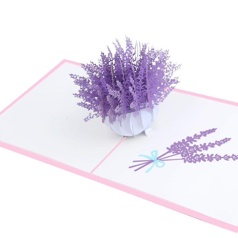 lavender flower pop up card - top angle view