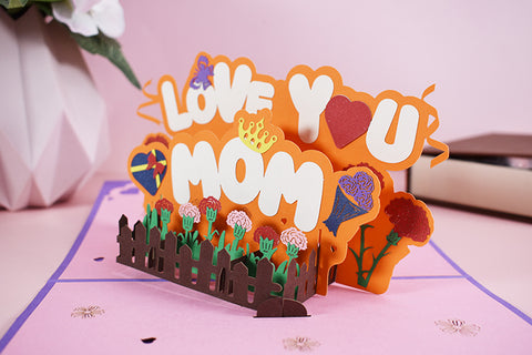 love you mom pop up card - angle view