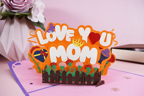 love you mom pop up card - front view
