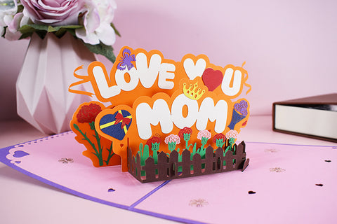 love you mom pop up card - main view