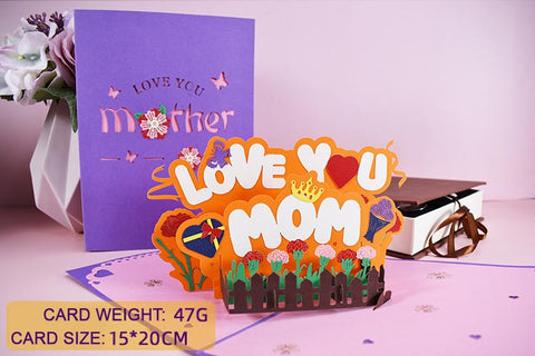 love you mom pop up card - size
