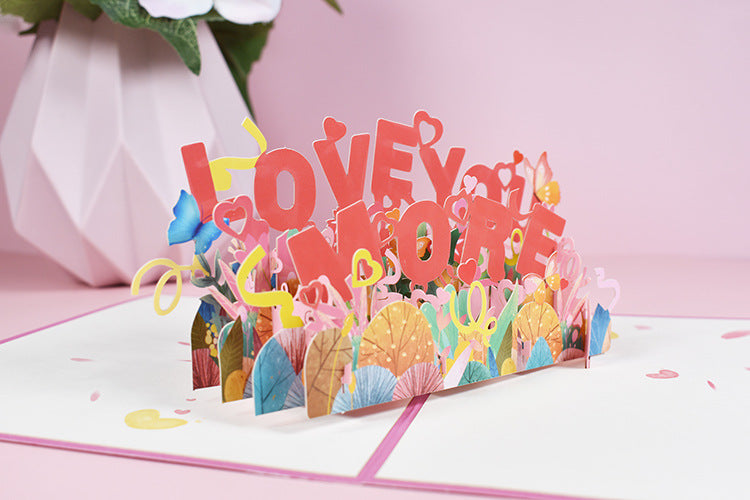 love you more pop up card - angle view