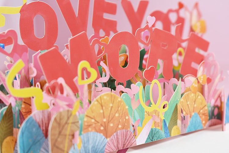 love you more pop up card - close up